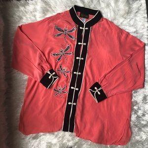 VTG 80's Bob Mackie Wearable Art 100% Silk Blouse